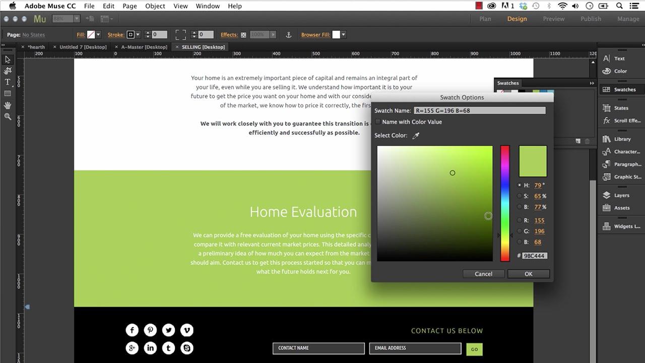 Adobe Muse Training Screenshot