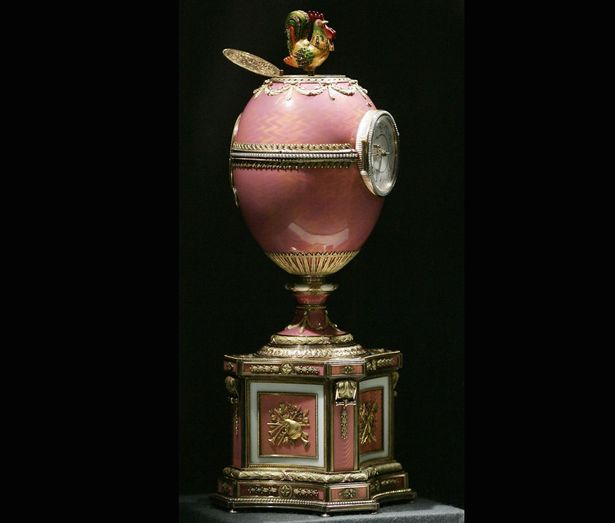 The gold-and-pink enamel egg was made by the Russian royal family as an engagement gift for French aristocrat Baron Edouard de Rothschild.