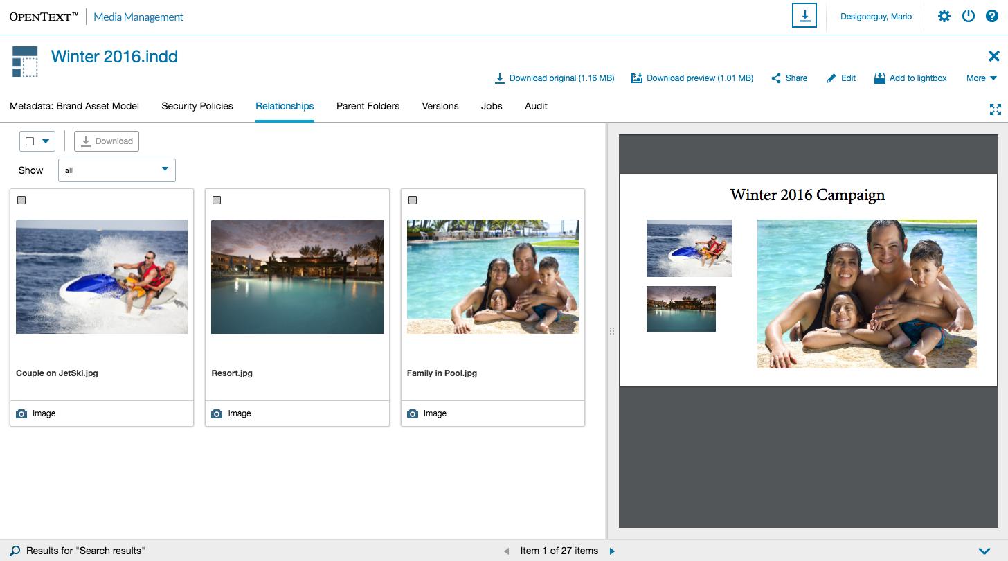 OpenText Media Management Adobe CC Integration linked asset