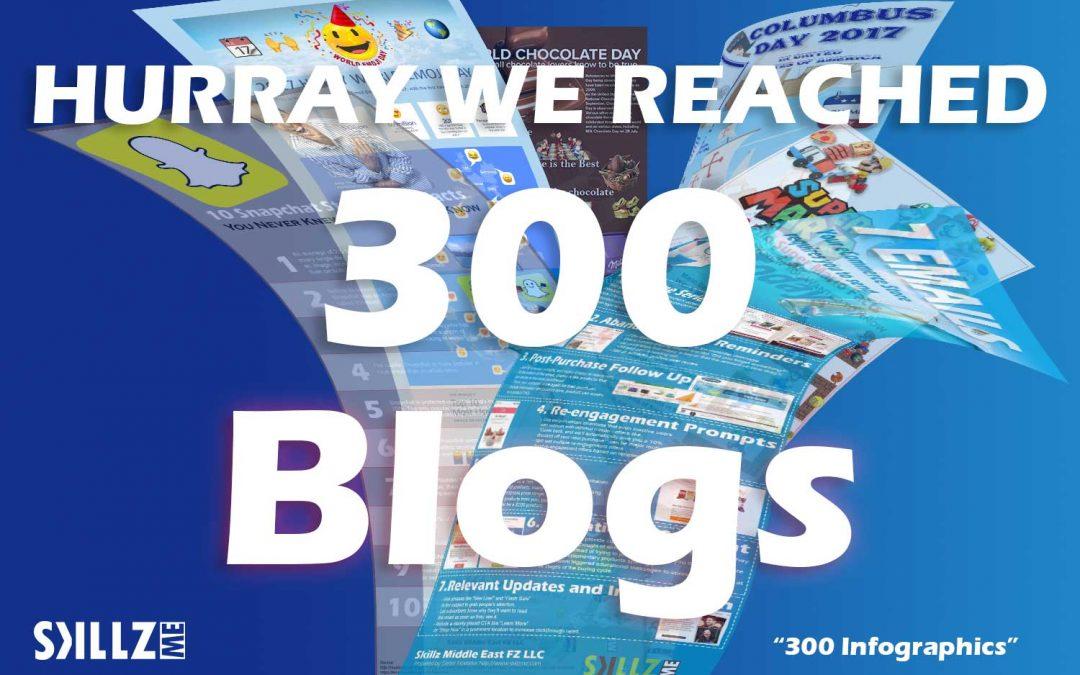 Today Happy 300 Blog Posts on https://skillzme.com/blog