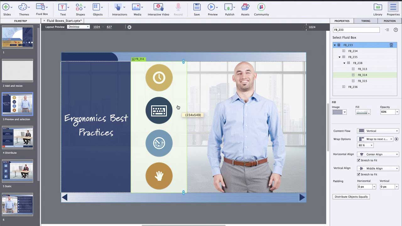 Adobe Captivate Beginner Training showing Characters and Adobe Stock integration