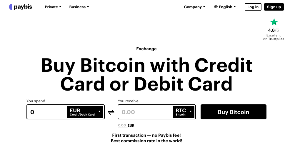 Exchange Platform Paybis Interface