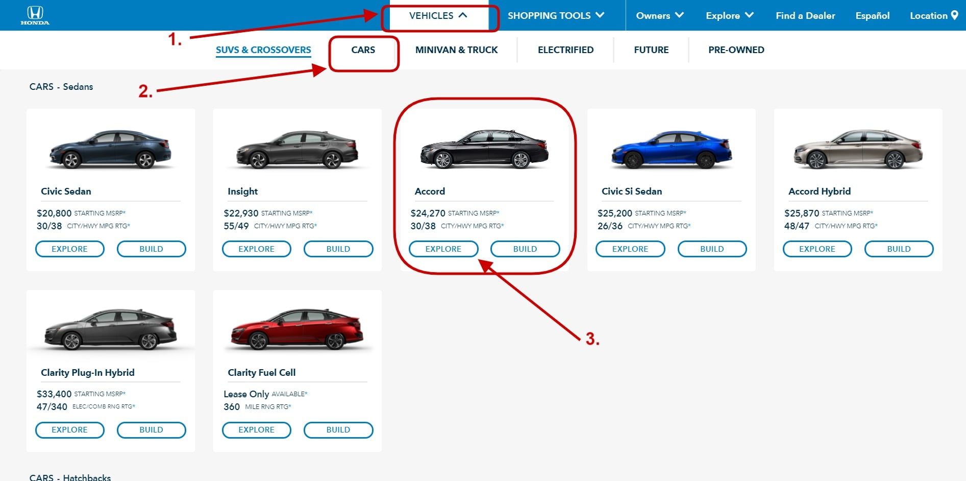 Avoid eCommerce mistakes Screenshot from the official Honda Auto website