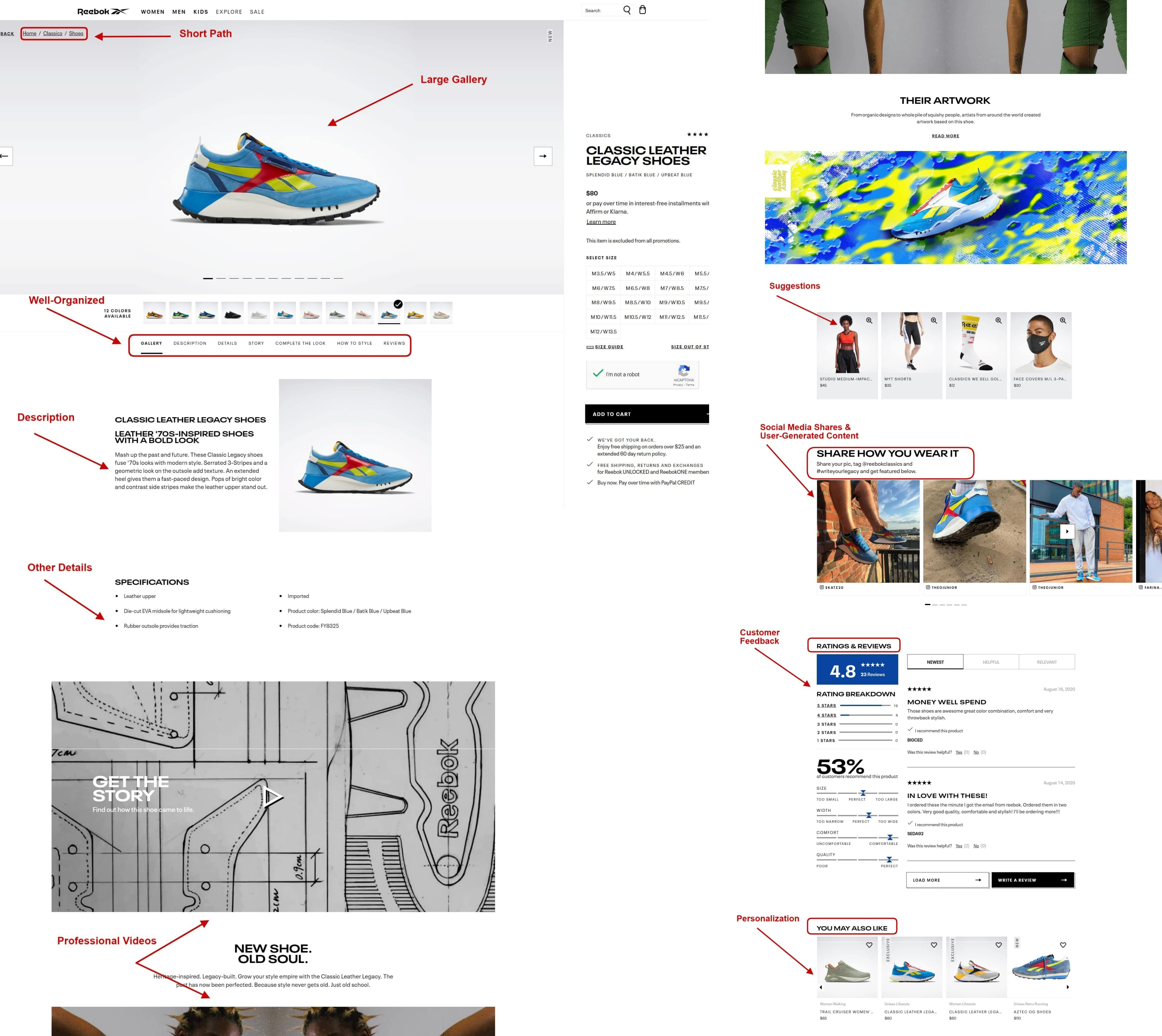 Avoid eCommerce mistakes Screenshot from the official Reebok website